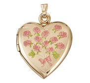 Solid 14K Yellow Gold  Dozen Roses  Locket