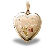 14K Yellow Gold Filled Heart w  Mom   Diamond Locket