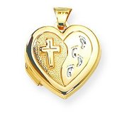 Solid 14K Yellow Gold Heart  Cross Locket w FootPrints