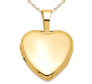 Solid 14k Yellow Gold Petite Heart Photo Locket
