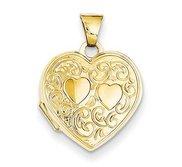 14k Solid Yellow Gold Heart Locket