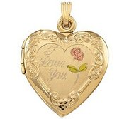 Solid 14k Yellow Gold Heart   I Love You  Picture Locket