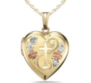 Solid 14K Yellow Gold Tri Color Cross Locket