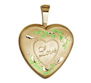 Childrens Gold Filled  Love  Heart Locket w  Enamel