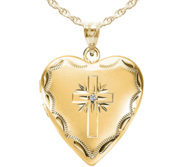 14k Gold Filled Cross Heart Photo Locket with CZ
