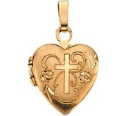 Solid 14k Yellow Gold Small Cross Heart Photo Locket