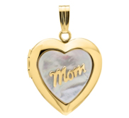 14k Gold Filled Mother of Pearl Mom Heart Photo Locket