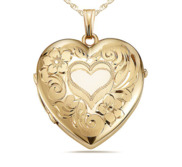 Yellow Gold 2 Photo Floral Heart Photo Locket
