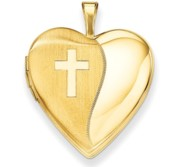14K Polished Satin with Cross Heart Locket
