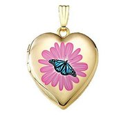 14K Gold Filled Flower Butterfly Heart Locket