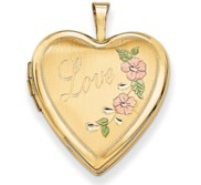14K Yellow Gold   Love   Enameled Flowers Heart Locket