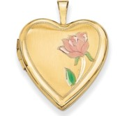 14K Yellow Gold Enameled Rose Heart Locket