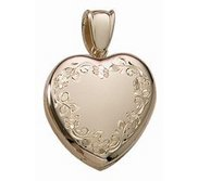 14k Yellow Gold Premium Weight Heart Photo Locket
