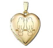 Solid 14K Yellow Gold  Sweetheart  Love Birds Locket
