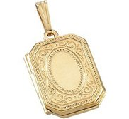 Solid 14k Yellow Gold Rectangle Photo Locket