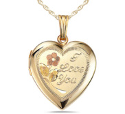 Solid 14k Yellow Gold Heart W  I Love You Engraved