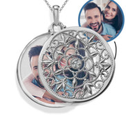 14k White Gold Swivel Round Photo Locket