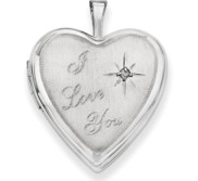 14K White Gold I Love You with Diamond Heart Locket
