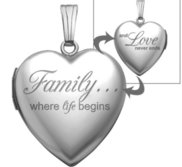 14K White Gold  Family Love  Heart Photo Locket