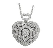 14K White Gold Premium Heart Photo Locket with Diamonds