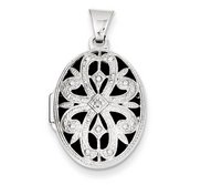 14k White Gold Oval   Diamond Picture Locket