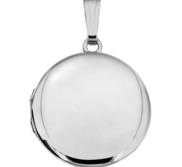 14k White Gold Round Locket
