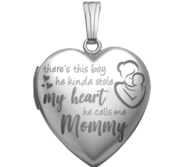 14K White Gold   He Calls Me Mommy   Heart Photo Locket