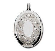 14k White Gold Oval Picture Locket
