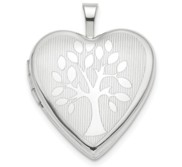 14K White Gold Family Tree Heart Locket