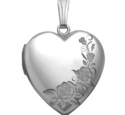 14K White Gold Roses Heart Photo Locket