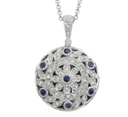14K White Gold Round Diamond   Sapphire Locket
