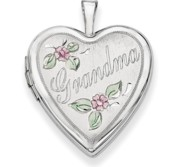 14K White Gold Enamel Flowers Grandma Heart Locket