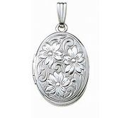 14k White Gold Hand Engraved Oval Locket