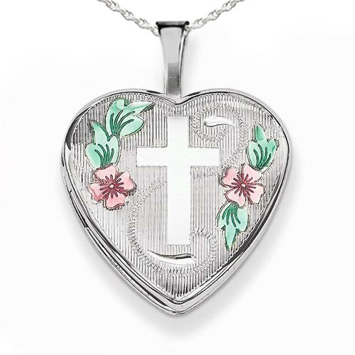 Jewelry Stores Network Sterling Silver Enameled Flowers On Cross Heart Pendant
