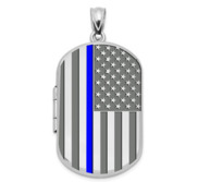 Sterling Silver Thin Blue Line Dog Tag Photo Locket