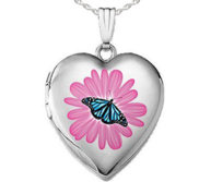 Sterling Silver Flower Butterfly Enameled Locket