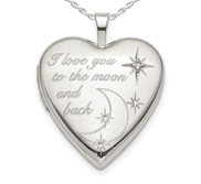 Sterling Silver   To The Moon   Back   Heart Photo Locket