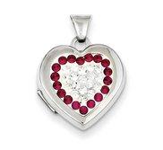 Sterling Silver Swarovski Crystal Heart Locket