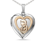 Sterling Silver Two Tone Mother and Child Heart Photo Locket