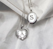 Sterling Silver Hand Engraved Initial Heart or Oval Locket