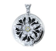 Sterling Silver  Premium Weight  Cubic Zirconia Starfish Locket