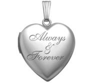 Sterling Silver  Always   Forever  Heart Locket