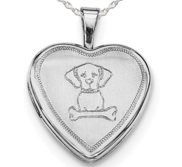 Sterling Silver Dog With Bone Heart Photo Locket