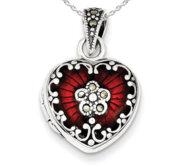Sterling Silver Red Enamel   Marcasite Heart Locket