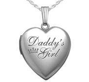 Sterling Silver Daddy s Girl Heart Photo Locket