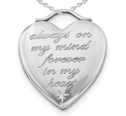 Sterling Silver   Always on my mind  Forever in my heart   Heart Locket