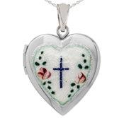 Sterling Silver Heart Locket w  Enameled Cross
