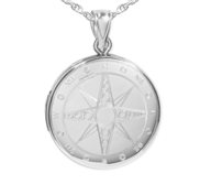 Sterling Silver Nautical Compass Round Photo Locket