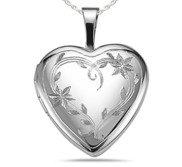 Sterling Silver Floral Vine Heart Photo Locket