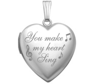 Sterling Silver  You Make My Heart Sing  Heart Locket